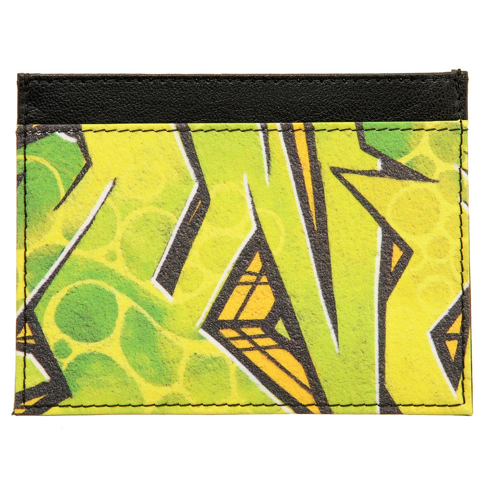 5028 19 - Slim Leather Credit Card Holder with Graffiti Print