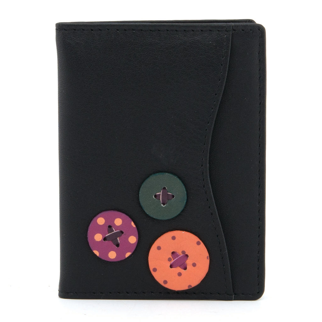 5307B 17 - Leather Travel Pass Holder with Applique Button Detail