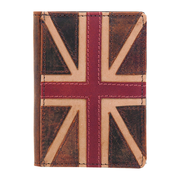 Brown Leather Union Jack Travel Pass Oyster Card Holder