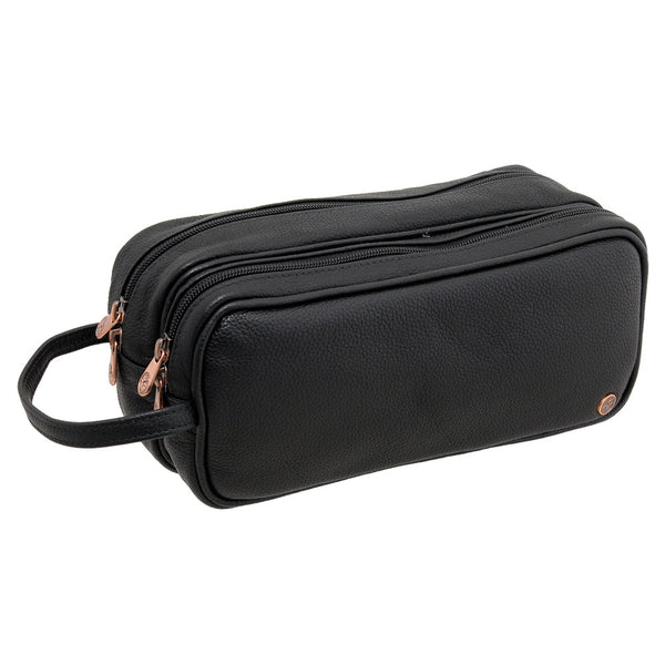 6305 12 - Leather Double Zip Top Wash Bag