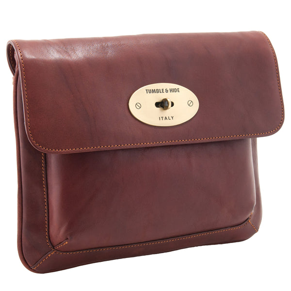 6904 THV - Italian Vegetale Leather Flap Over iPad Sleeve