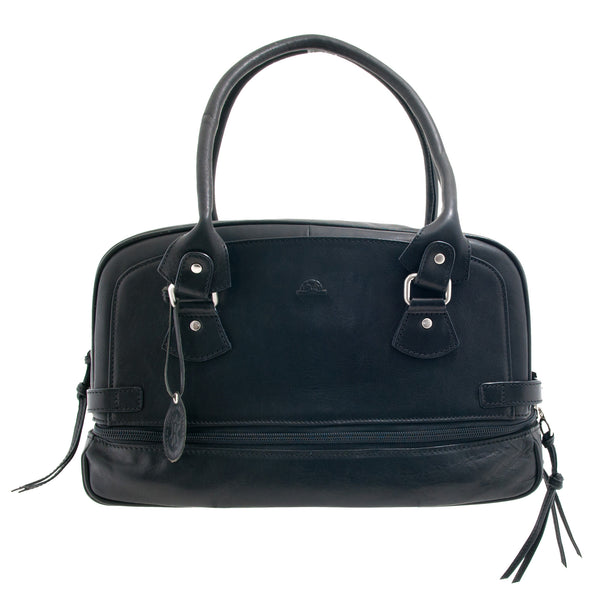 Italian Black Leather Zip Top Shoulder Bag by Tony Perotti