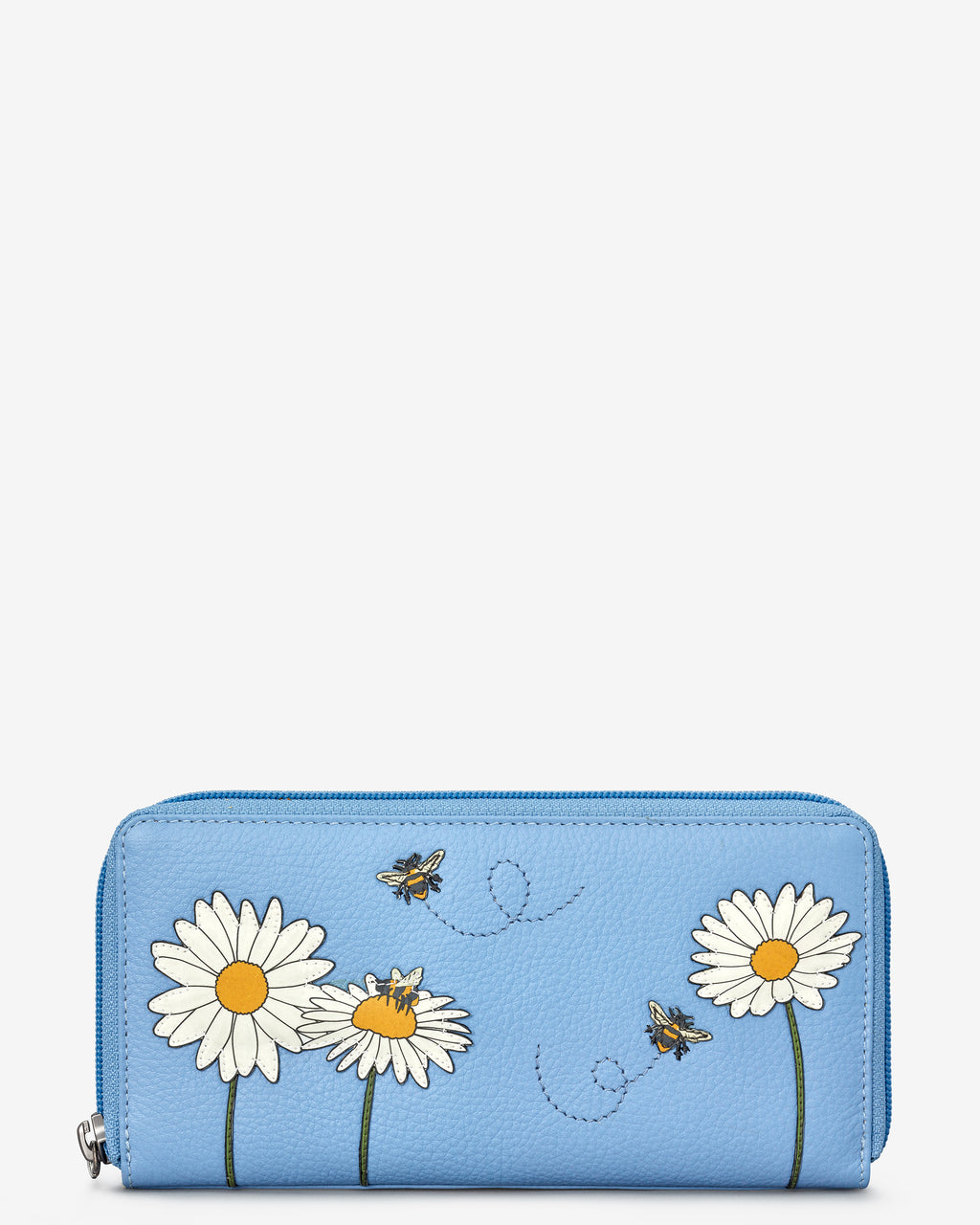 Bee Happy Zip Round Leather Purse