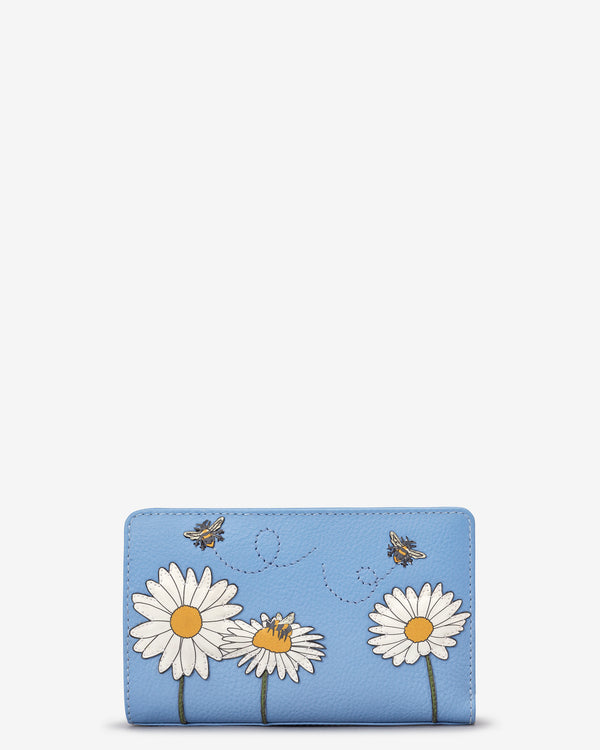 Bee Happy Flap Over Zip Around Leather Purse