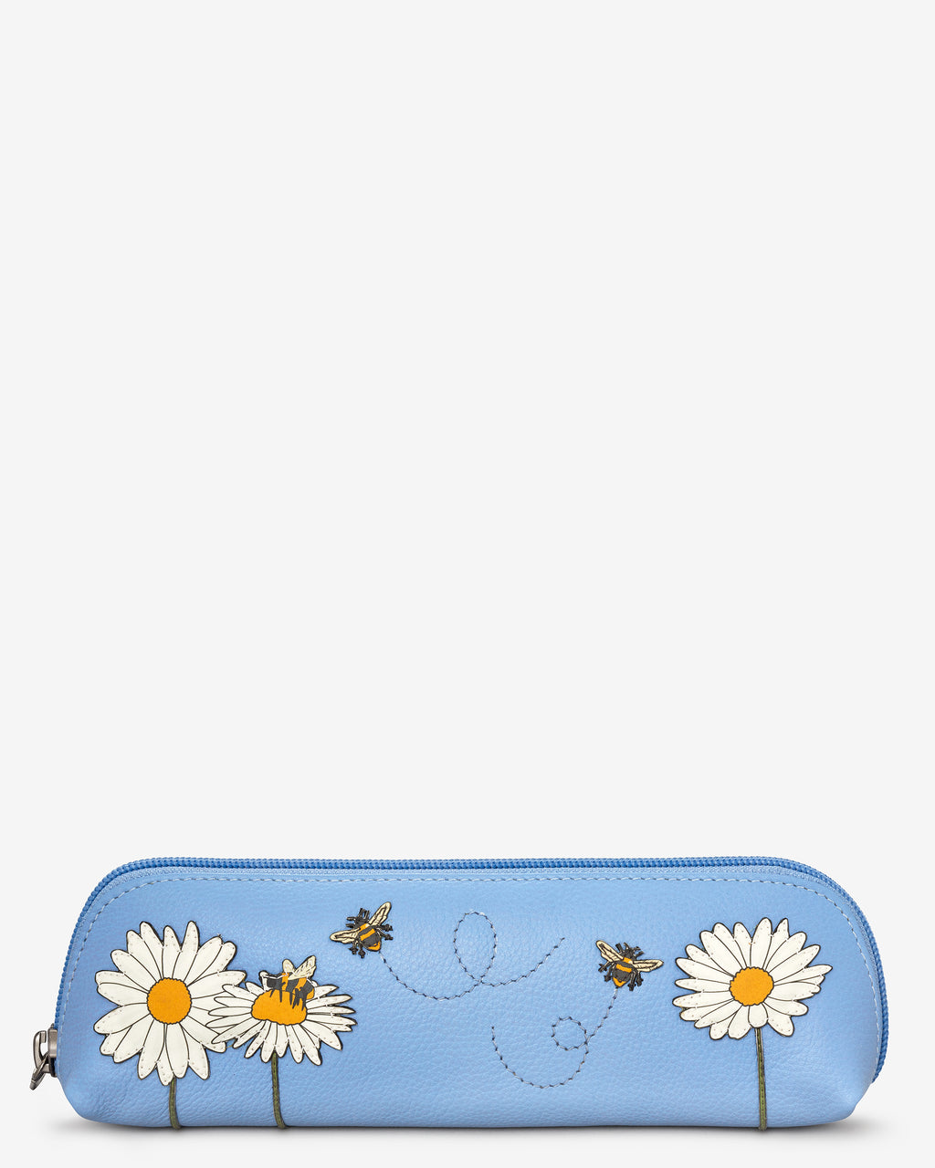 Bee Happy Zip Top Leather Pouch Pencil Case