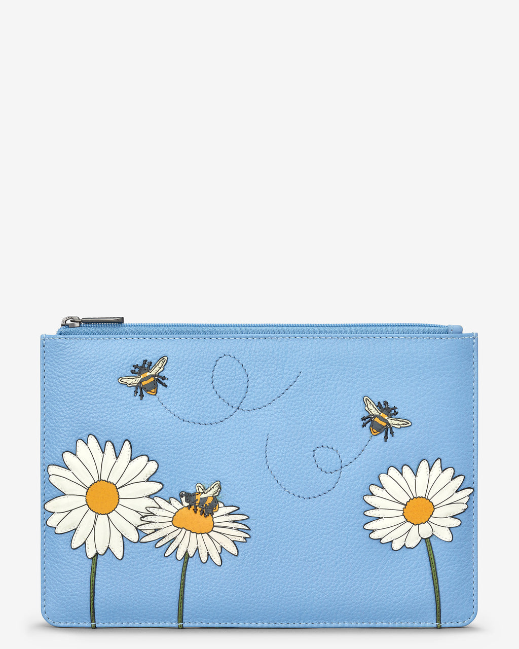 Bee Happy Zip Top Leather Pouch