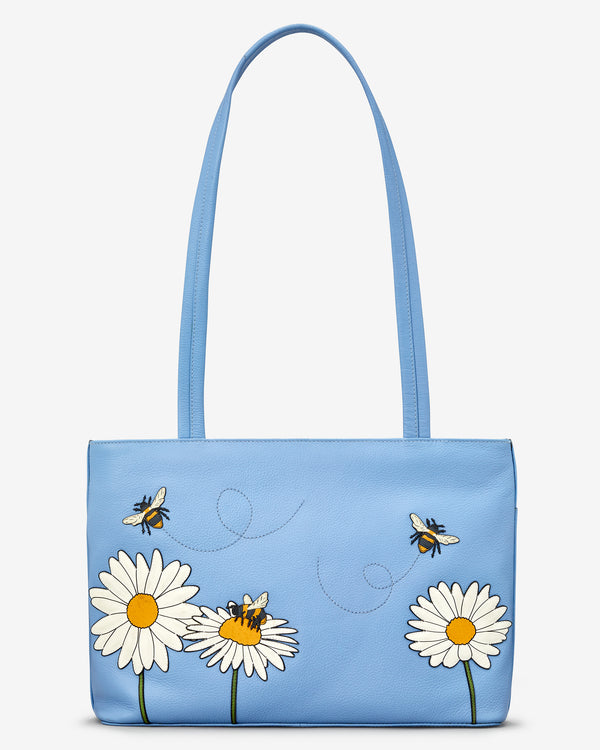 Bee Happy Leather Shoulder Bag