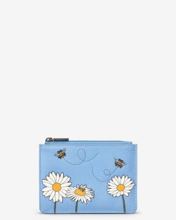 Bee Happy Zip Top Leather Purse