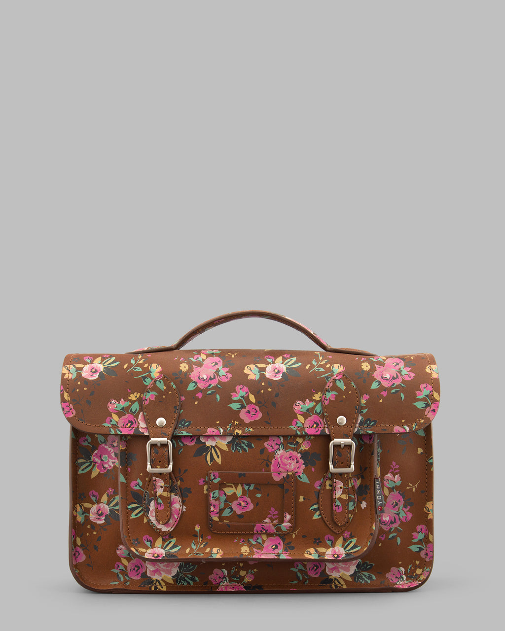"YB84 FLR 2H - The Belforte 14"" Brown Hunter Roses Printed Leather Satchel by Yoshi"