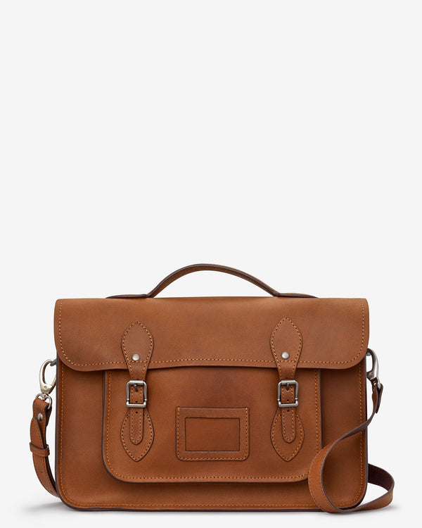"YB84 - The Belforte 14"" Plain Leather Satchel by Yoshi"