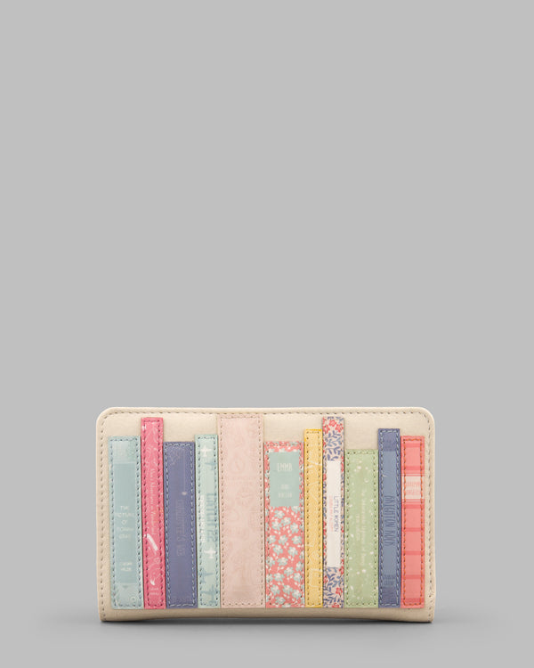 Bookworm Library Zip Around Leather Purse - Cream