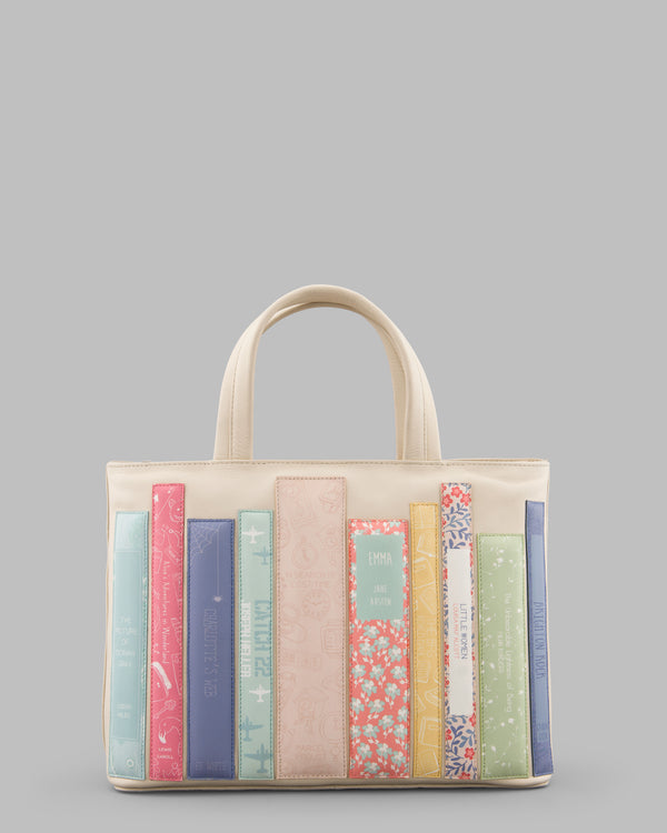 Bookworm Library Leather Grab Bag - Cream