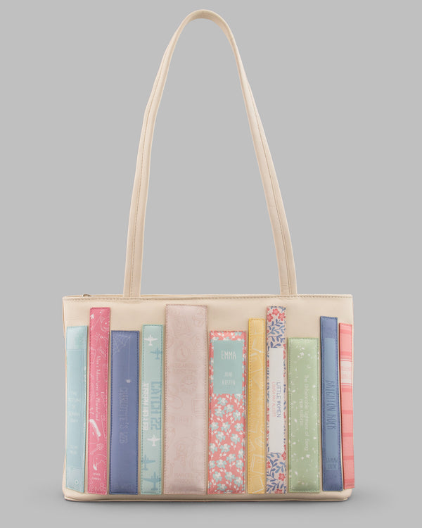 Bookworm Library Leather Shoulder Bag - Cream