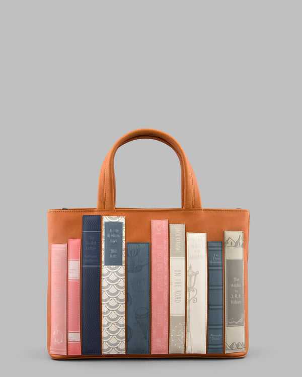 Bookworm Library Tan Leather Grab Bag