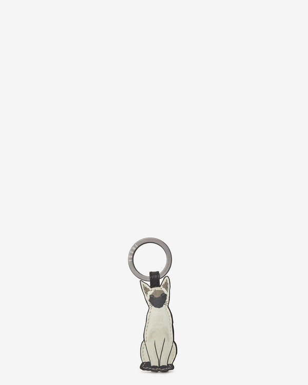 Cat Lounge Kitten Leather Keyring
