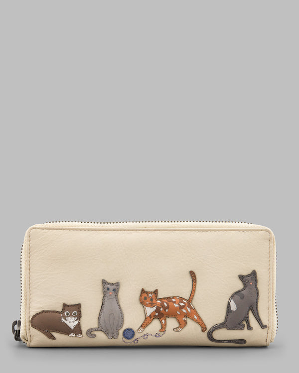 Cats Whiskers Black Leather Zip Round Purse