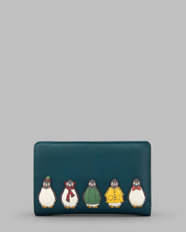 Chilly Chums Medium Zip Around Leather Purse