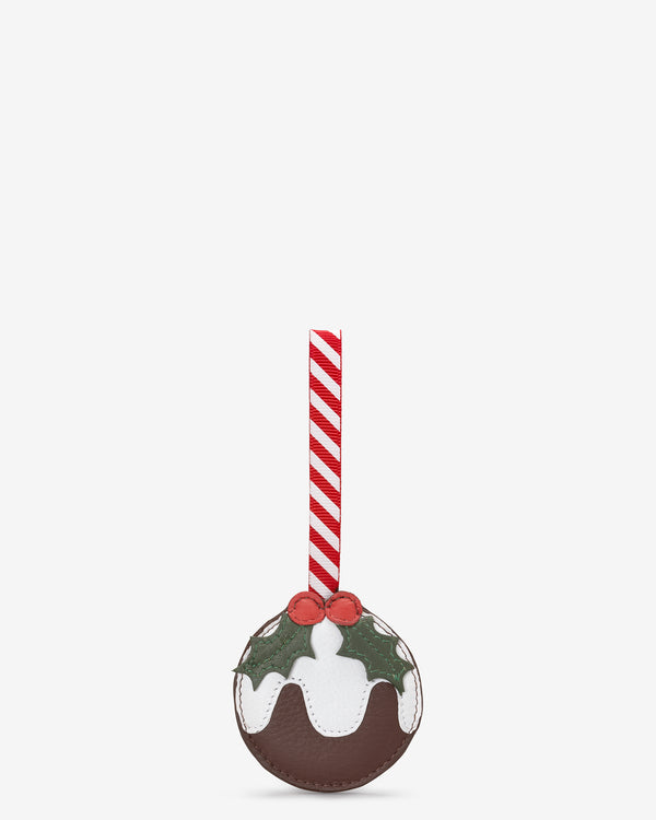 Christmas Pudding Leather Tree Decoration