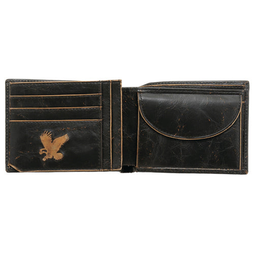 Detour Black Leather Bonham Two Fold Wallet