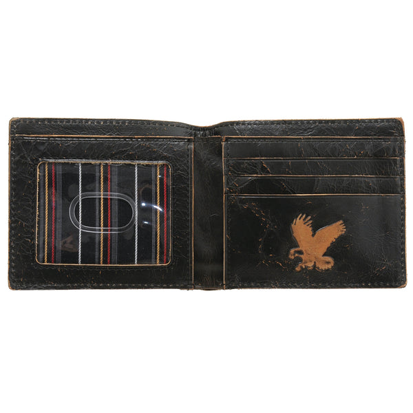 Detour Black Leather Fenton Two Fold Wallet