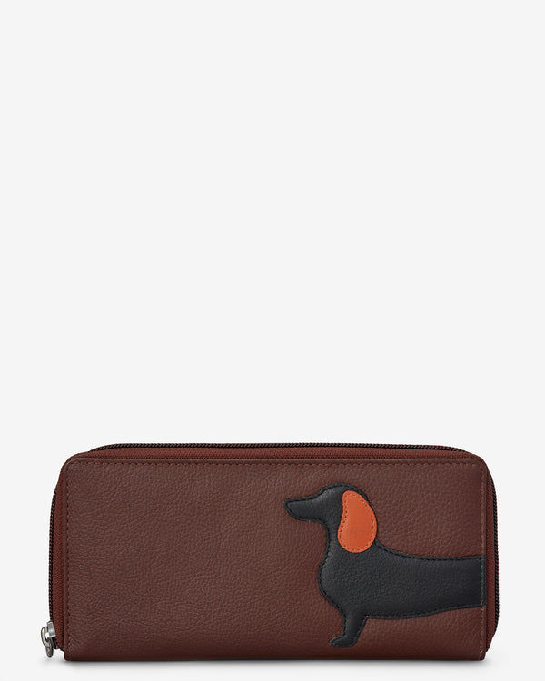 Delilah The Dachshund Zip Round Leather Purse