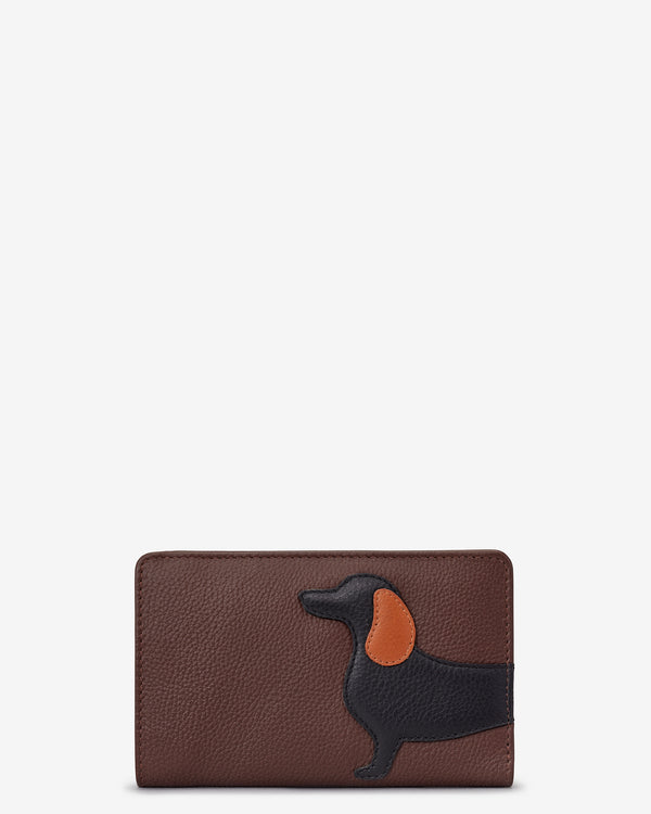 Delilah The Dachshund Flap Over Zip Around Leather Purse