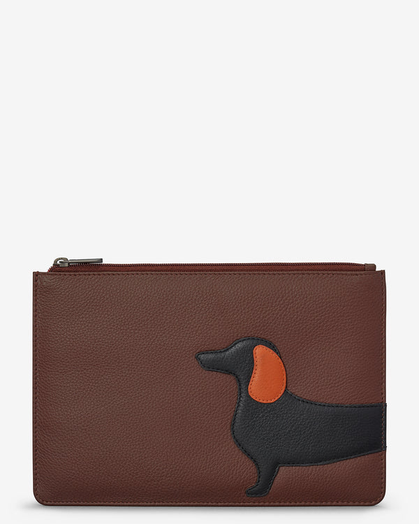 Delilah The Dachshund Zip Top Leather Pouch