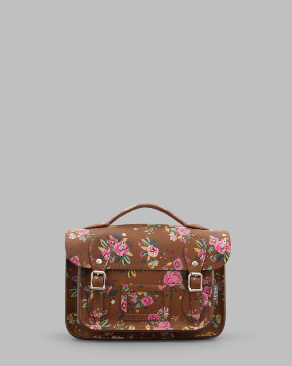 "YB85 FLR 2H - The Dewhurst 10.5"" Brown Hunter Roses Leather Satchel by Yoshi"