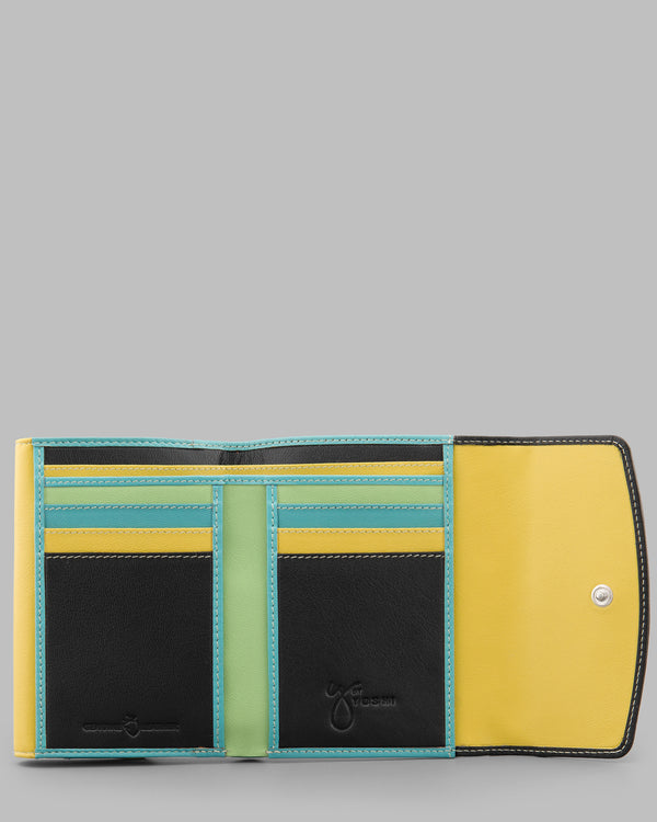 Y By Yoshi Multicolour Double Flap Over Leather Purse