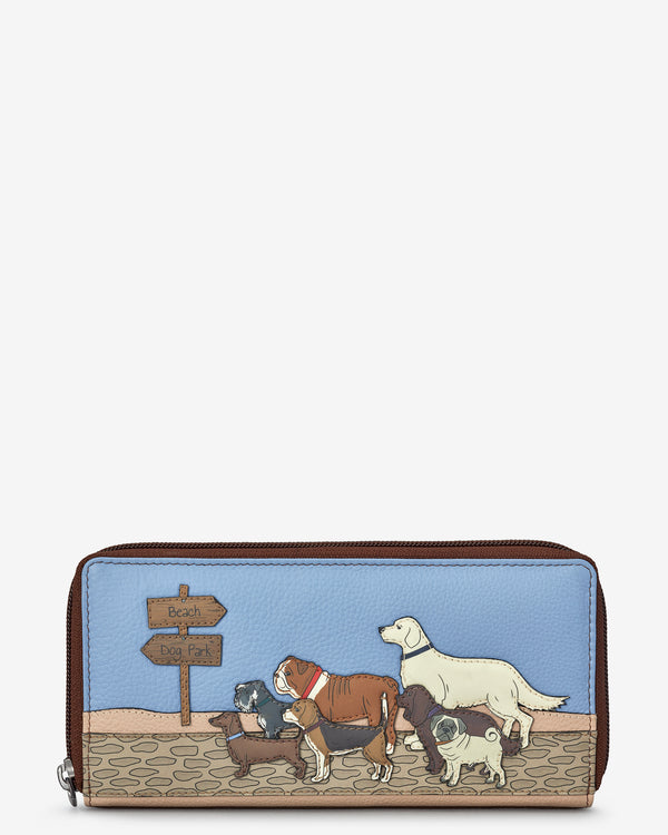Dog Walk Zip Round Leather Purse