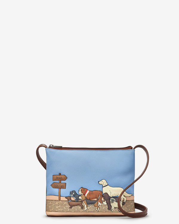 Dog Walk Leather Cross Body Bag