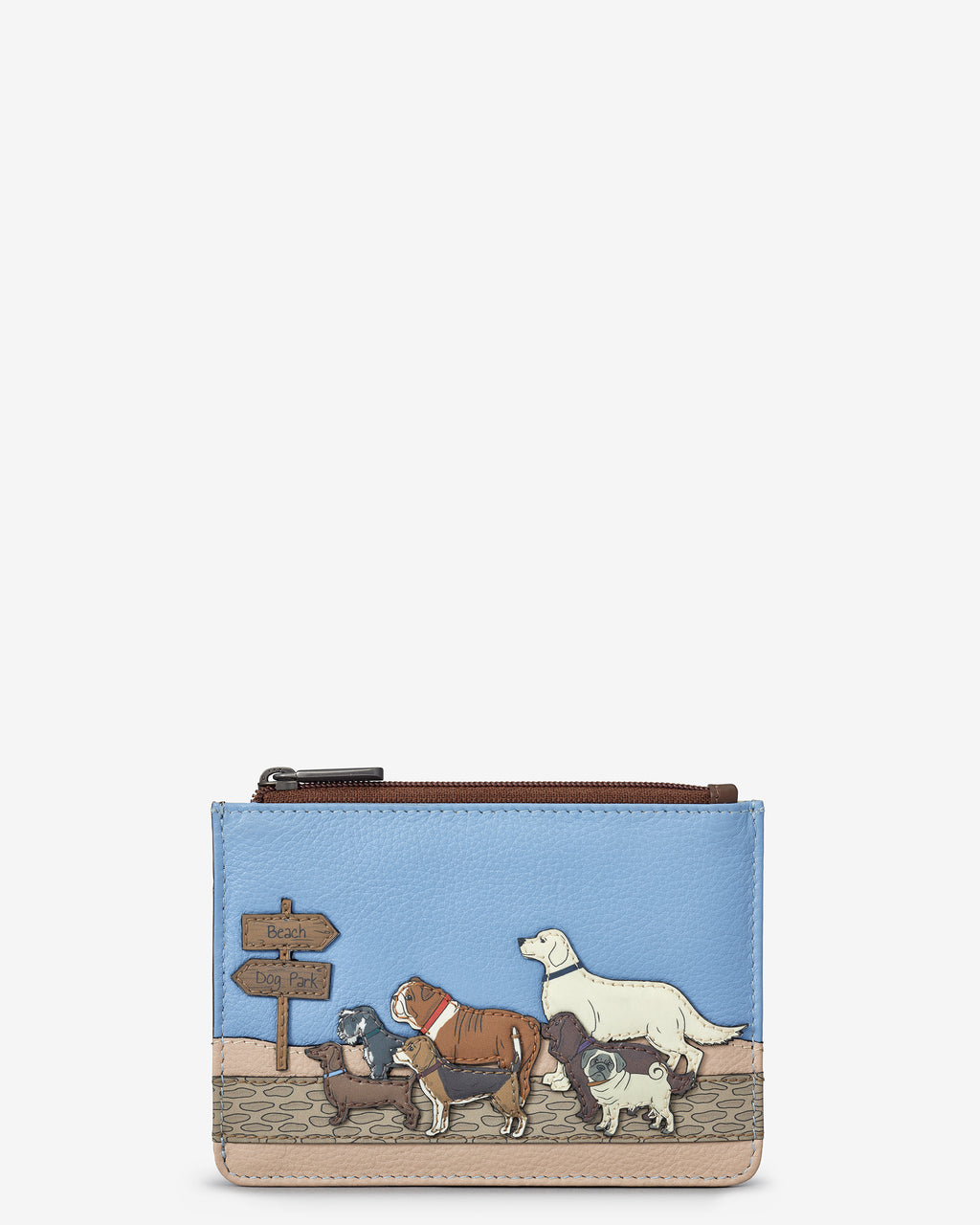 Dog Walk Zip Top Leather Purse