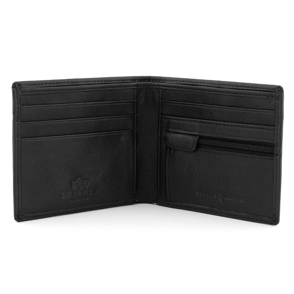 Gryphen Two Fold Black Leather Wallet