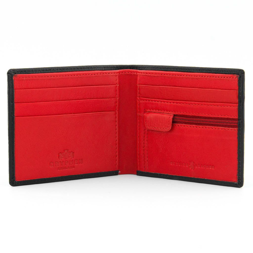 Gryphen Two Fold Black And Red Leather Wallet