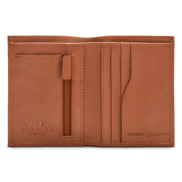 Gryphen Two Fold Leather Wallet With Zip Pocket