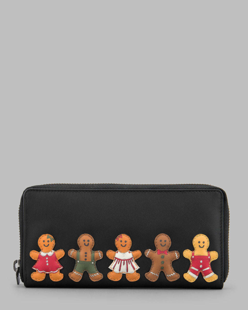 Gingerbread Gang Large Zip Around Leather Purse