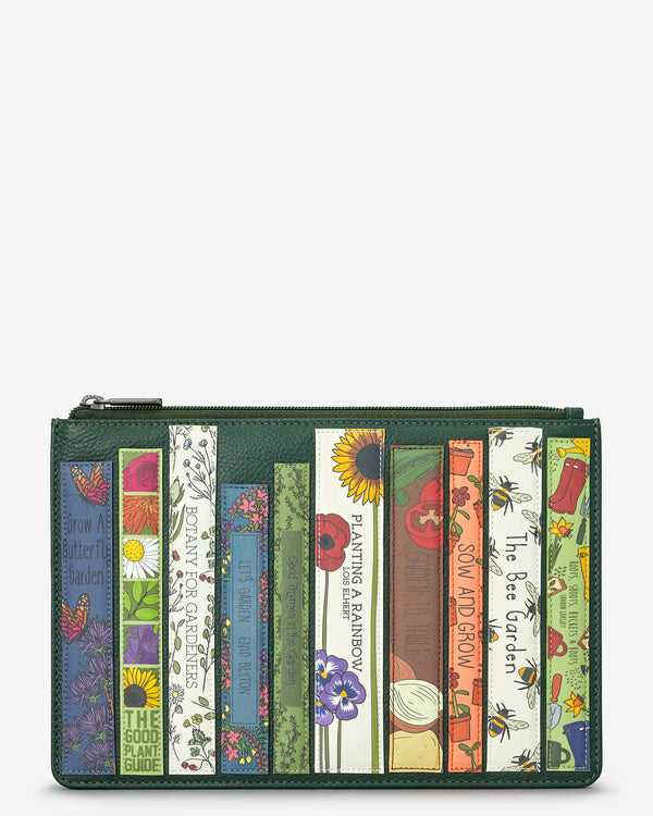 Green Fingers Bookworm Library Zip Top Leather Pouch