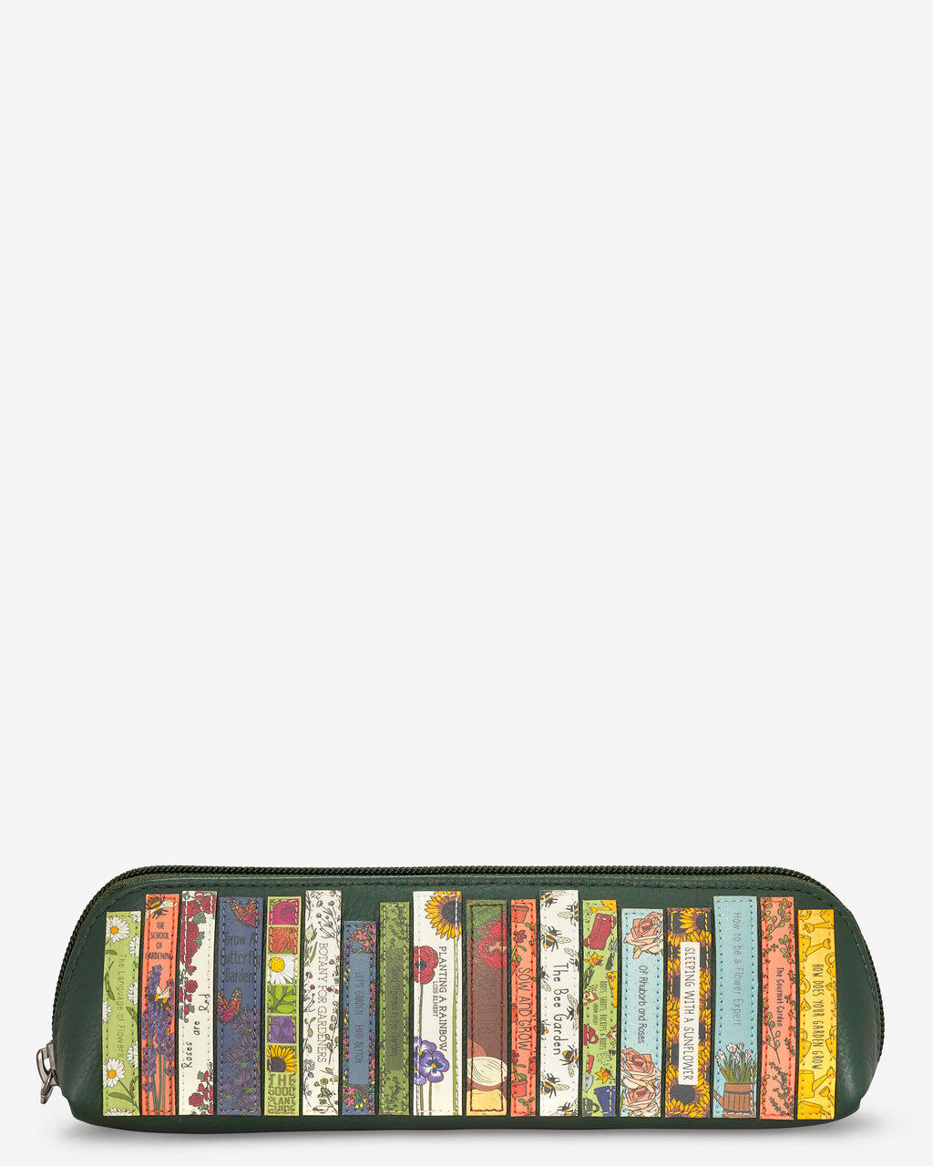 Green Fingers Bookworm Library Zip Top Leather Pouch Pencil Case