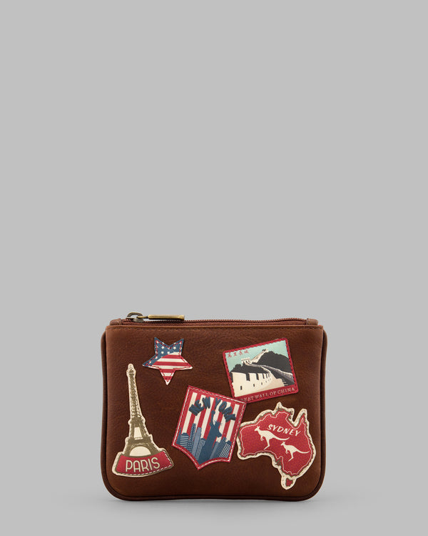 Happy Travels Leather Zip Top Purse