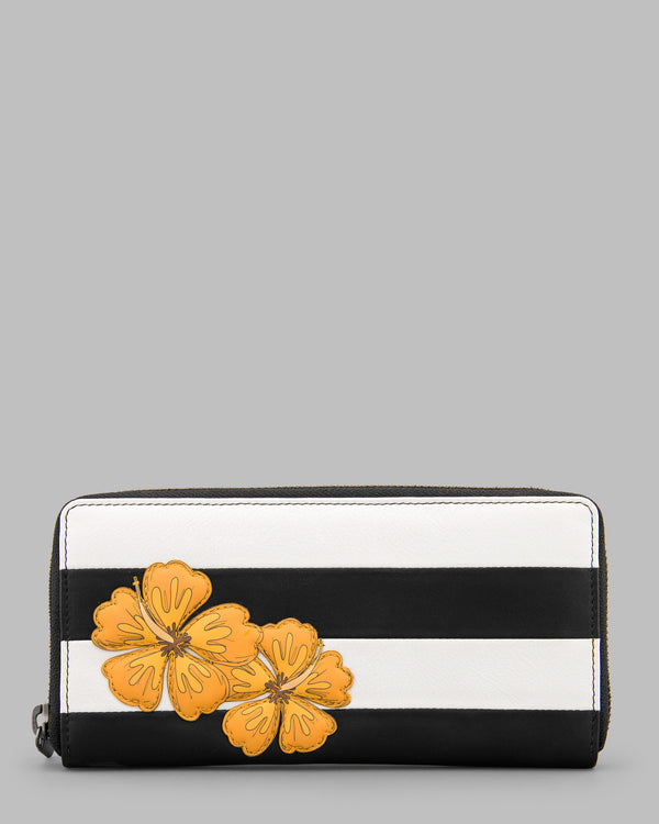 Hibiscus Zip Around Leather Purse