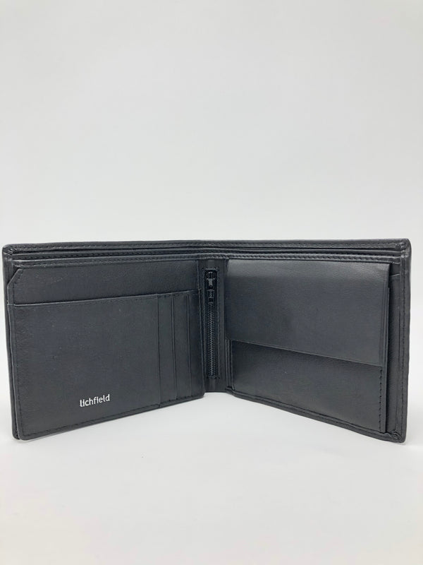 Two Fold Black Leather Wallet With Inside Zip Pocket