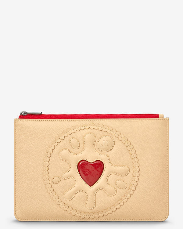 Jammie Dodger Biscuit Zip Top Leather Pouch