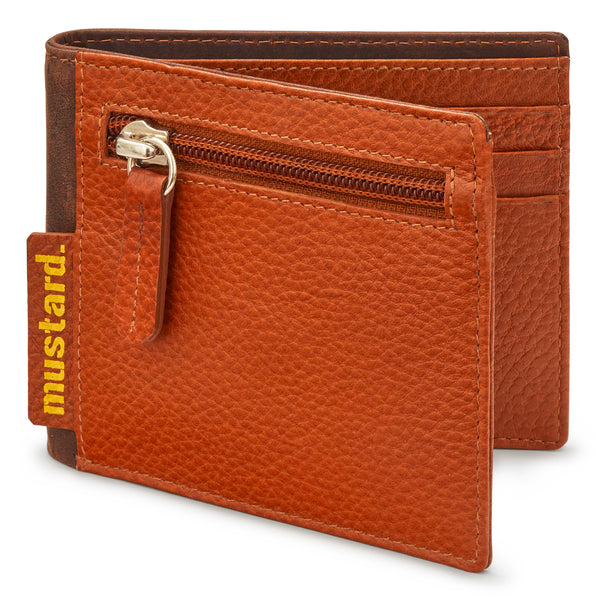 Two Fold Tan Leather Wallet With Back And Front Coin Pockets