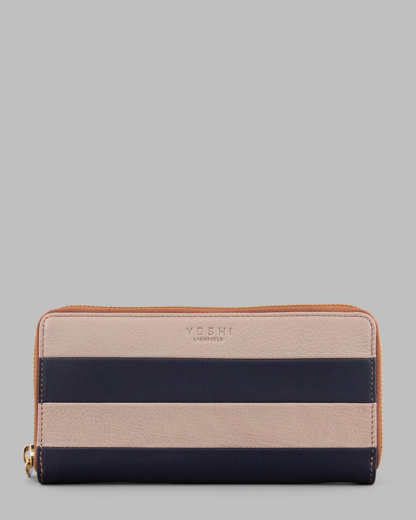 Marty Navy Stripe Leather Zip Round Purse