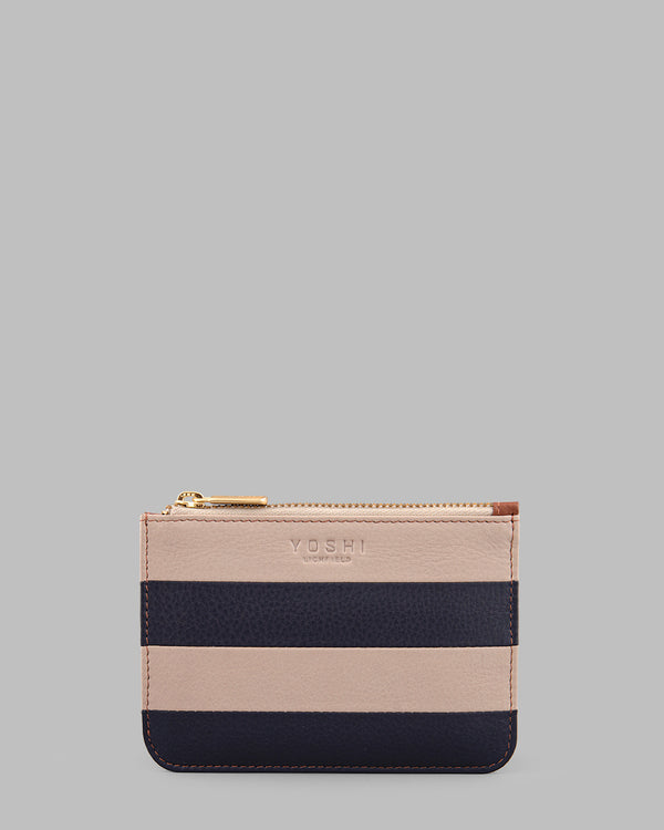 Marty Navy Stripe Leather Zip Top Purse