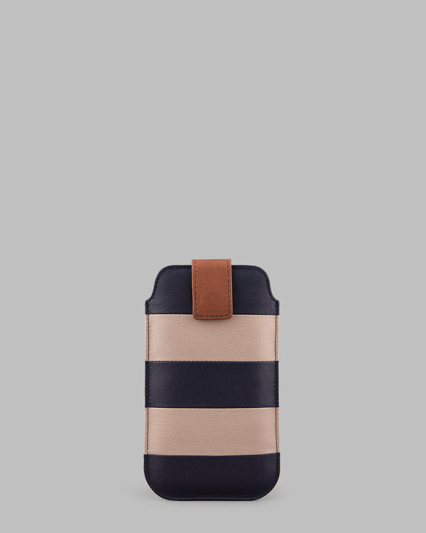 Marty Navy Stripe Leather Phone Case