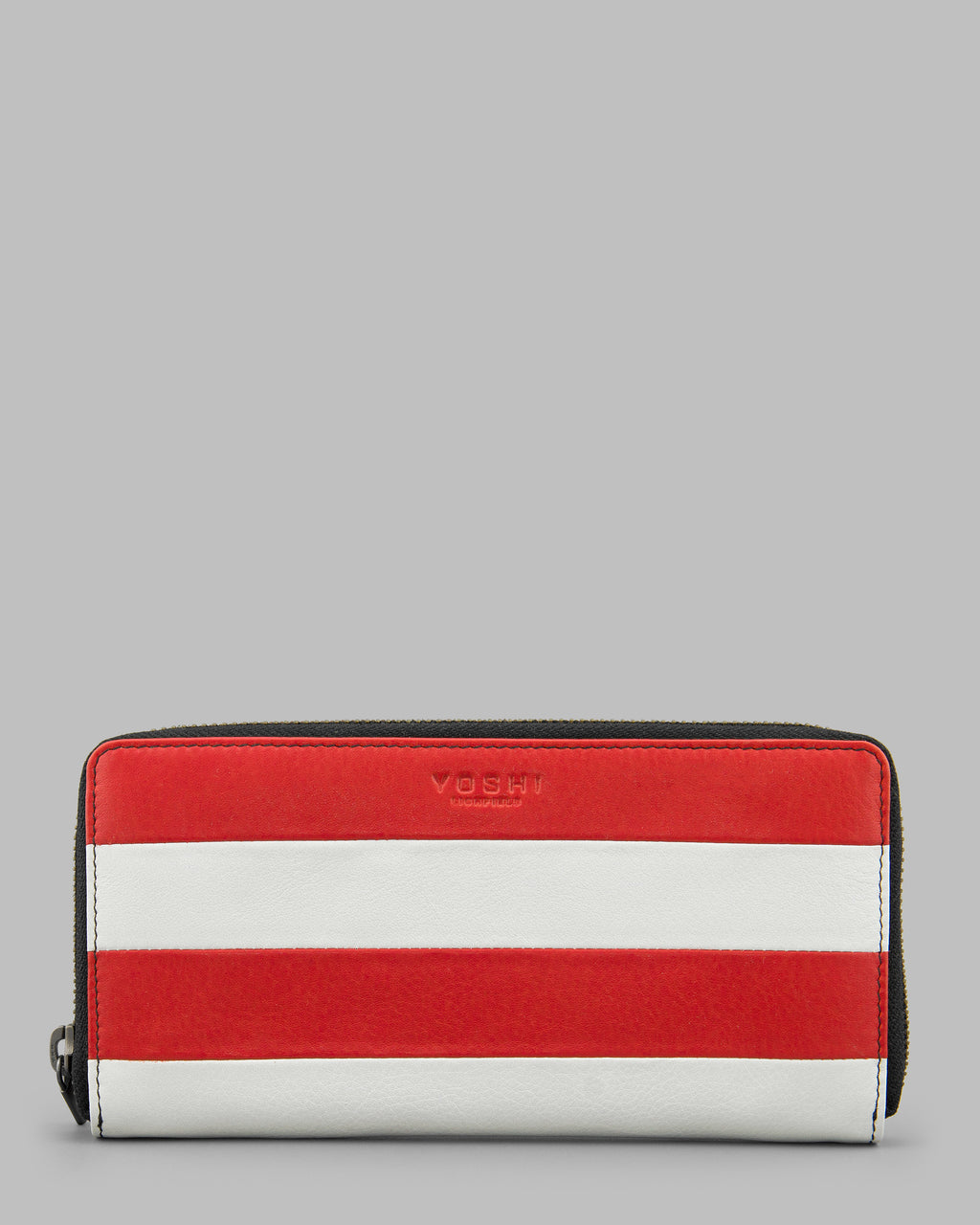 Marty Red Stripe Leather Zip Around Purse