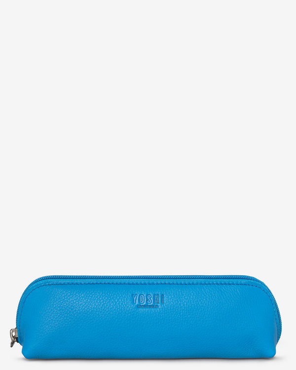 Morgan Zip Top Cobalt Leather Pouch Pencil Case