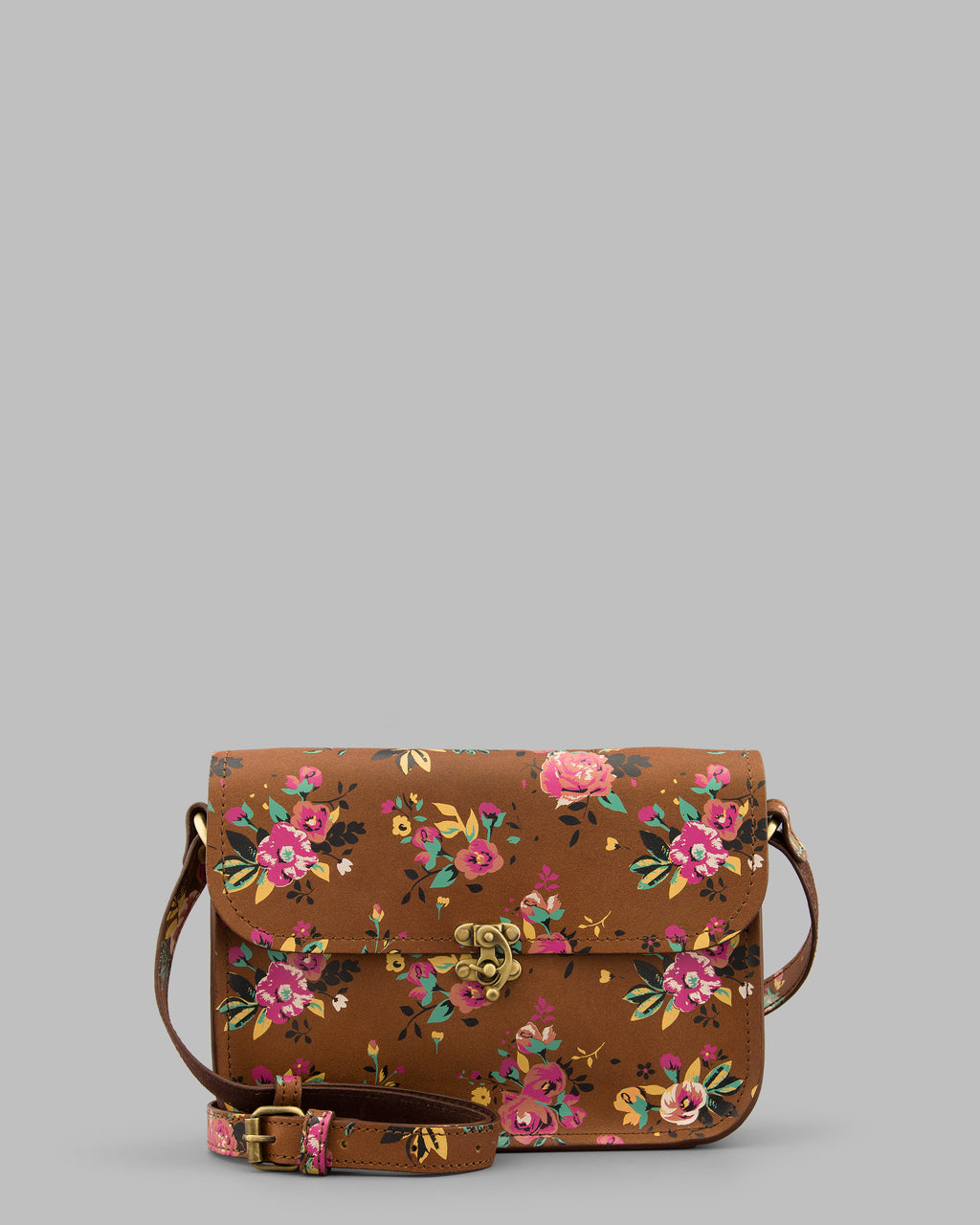 Newman Leather Floral Lock Shoulder Bag