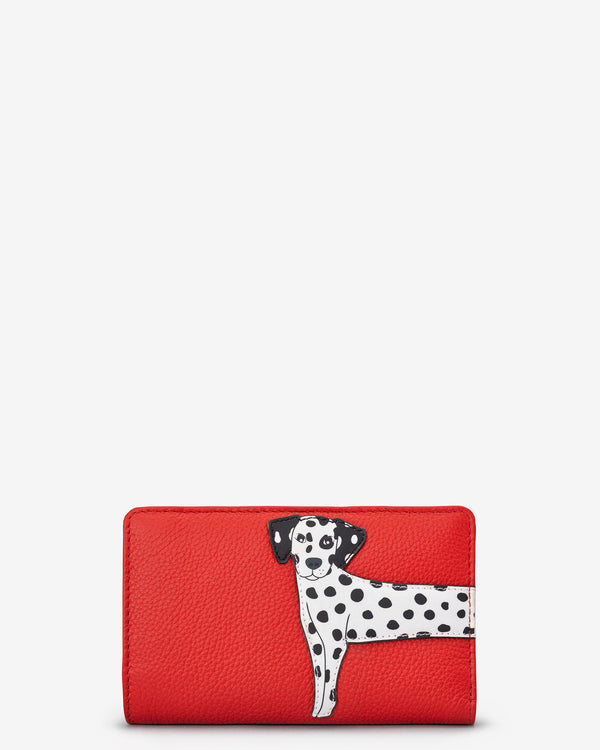 Penny The Dalmatian Flap Over Zip Around Leather Purse